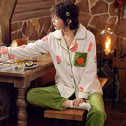 DUJUN Pijama para Mujer otoño e Invierno Coral Polar de Manga ...