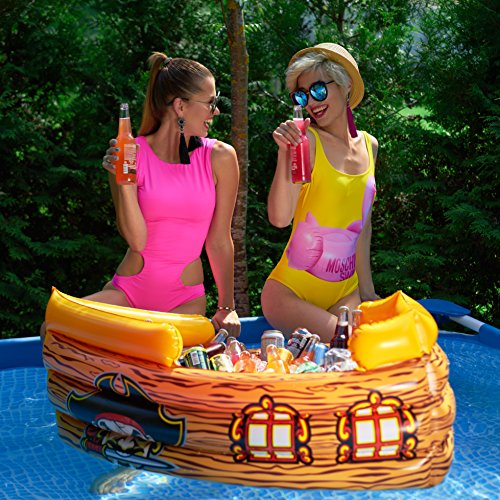 Kenley Inflatable Drinks Cooler - Floating Pirate Ship - Supplies & Decorations for Beach Pool Party, Summer Picnic, BBQ, Luau or Pirate Theme Kids Birthday - Ice Buffet Tray Drink Holder Serving Bar by Kenley (Image #4)