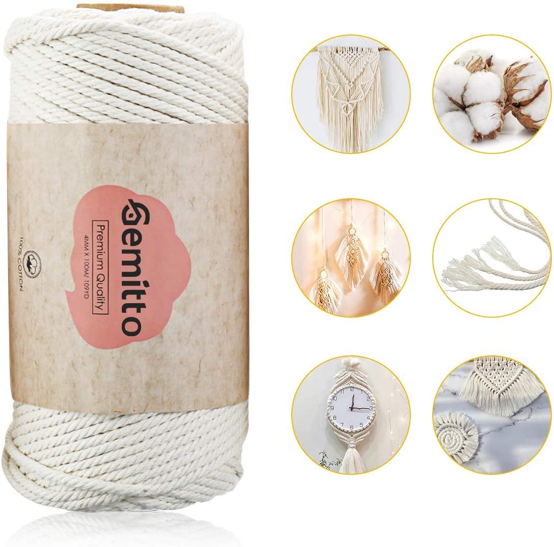 Cotton Cord Craft Knitting Braiding Thread 4 Strands Natural Macrame Cotton Rope Plant Flower Pot Hangers Beige 3mm Width for Wall Hanging Tapestry Decor GEMITTO Macrame Cord 109yd