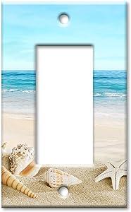 Art Plates 1-Gang Rocker (Decora) OVERSIZE Switch Plate/OVER SIZE Wall Plate - Seashells on the Beach