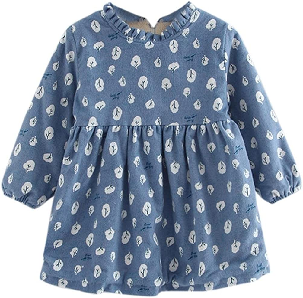 FORESTIME Toddler Kids Baby Girl Clothes Long Sleeve Printing Warm Party Princess Dresses