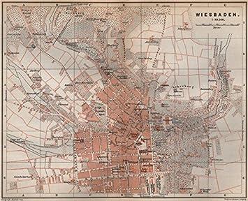 Wiesbaden Karte.Amazon De Town City Wiesbaden Antik Stadtplan Hessen Karte