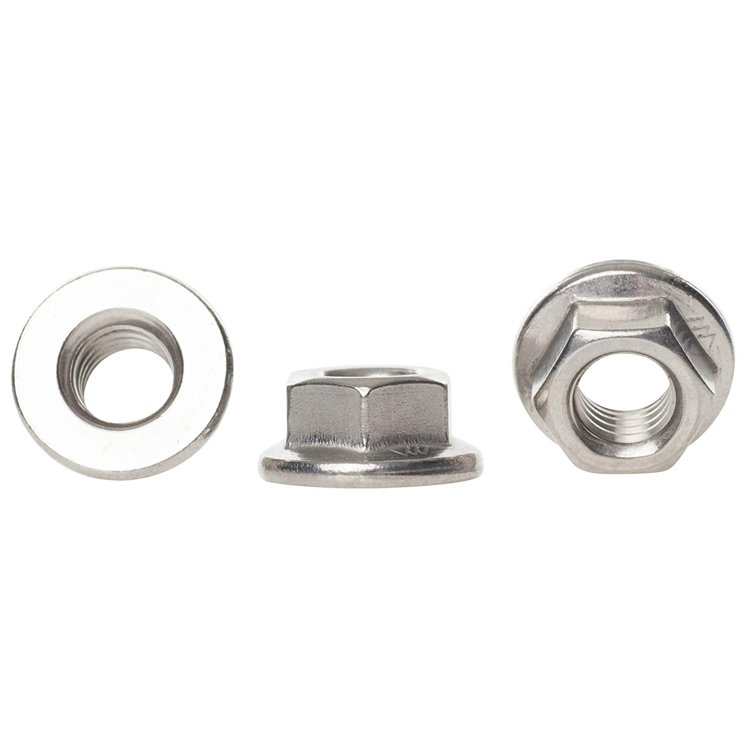 M8 Stainless Serrated Flange Nuts  10 pack