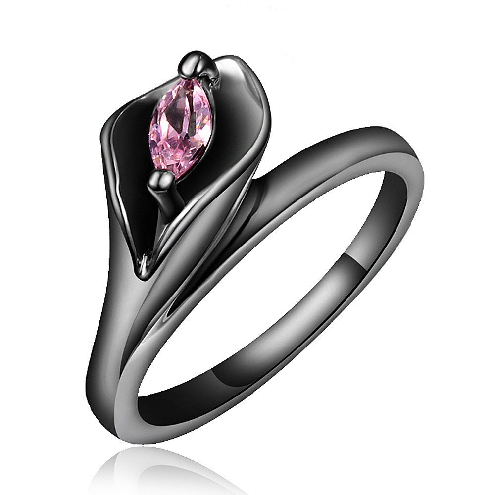 Pink CZ New Brand Jewelry 925 Sterling Silver Black Sapphire Wedding Engagement Ring