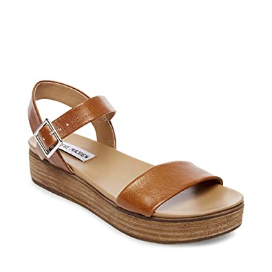 ba222222221 Steve Madden Women s Aida Cognac Leather Sandal ...