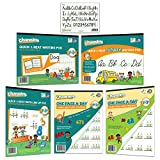 """Best value Channie's Visual Math, Handwriting, and Cursive Bonus Pack of 5 Separate Workbooks, Grades 1st – 3rd, Size 8.5"""" x 11"""" With FREE Alphabet Card"""
