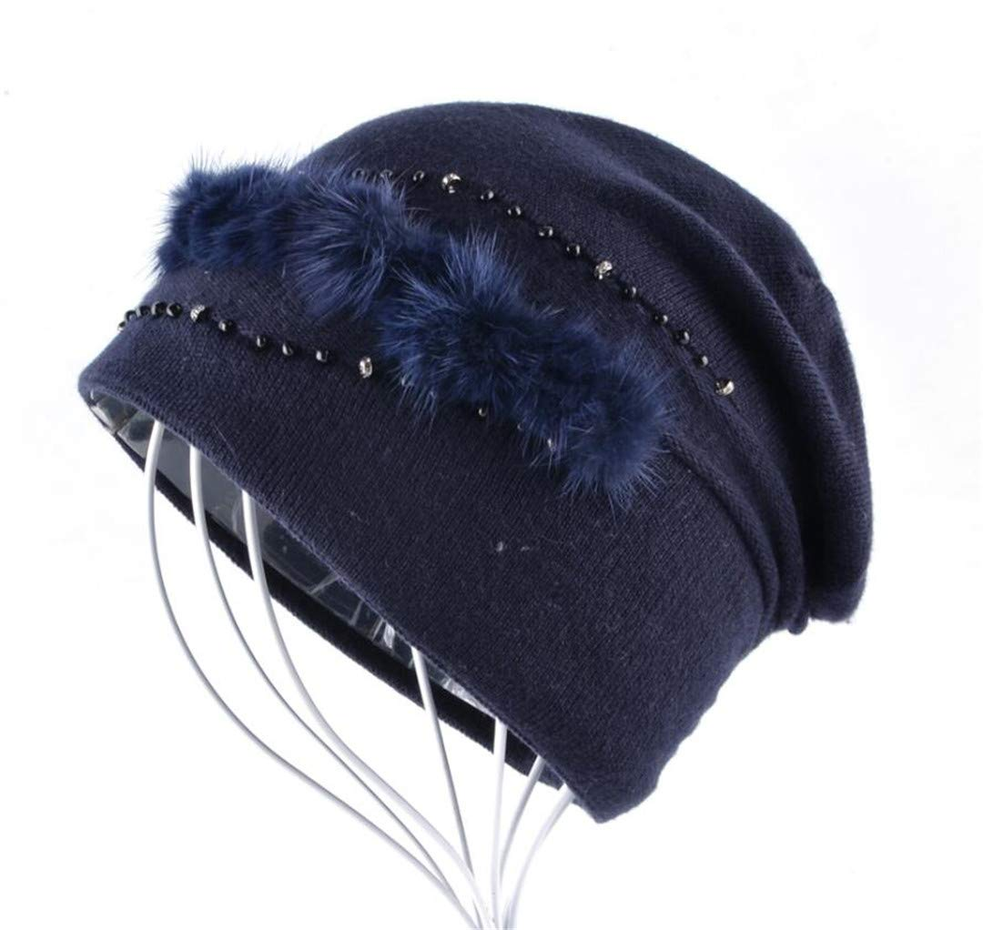 Winter Hat With Real Fur Ornament For Women'S Knitted Wool Cap