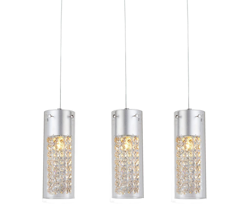 Lightess Crystal Pendant Light Glass Cylinder Modern Chandelier Flush Mounted Ceiling Lighting Fixtures with 3 Lights