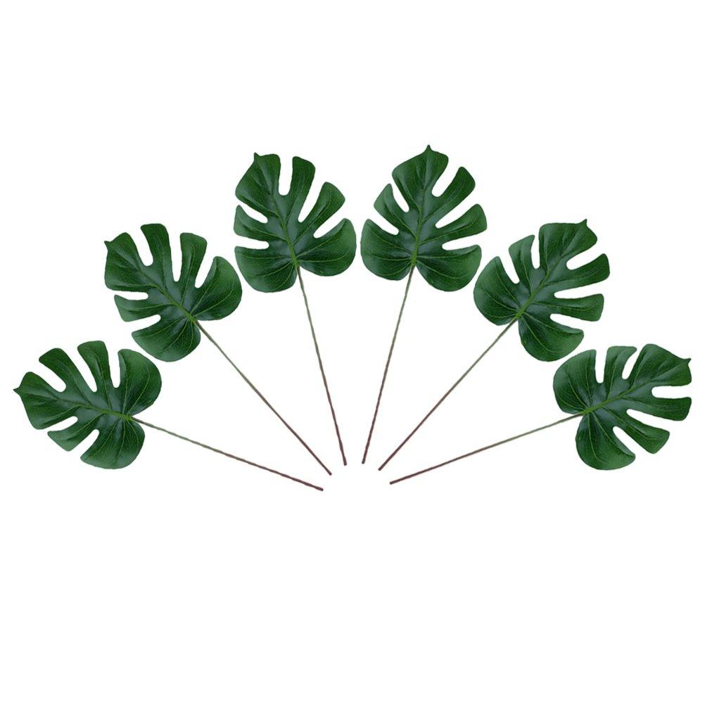 VORCOOL 人工生きているような植物 モンステラ おいしそうな葉 プラスチックグリーン植物 ホームオフィスの装飾用 6個 B07H9Y4DMP