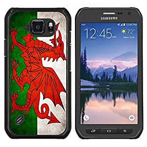 EJOOY---Cubierta de la caja de protección para la piel dura ** Samsung Galaxy S6Active Active G890A ** --Nacional bandera de la nación País de Gales