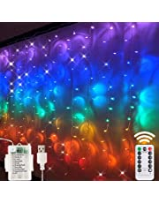 Led Fairy Curtain Light- 3M*1.5M USB Operated Or Battery Powered String Lights,200Led Colorful Window Fariy lights With Remote &Timer /8Modes Fariy Lights For Bedroom Dorm Wall Party Wedding Décor RGB