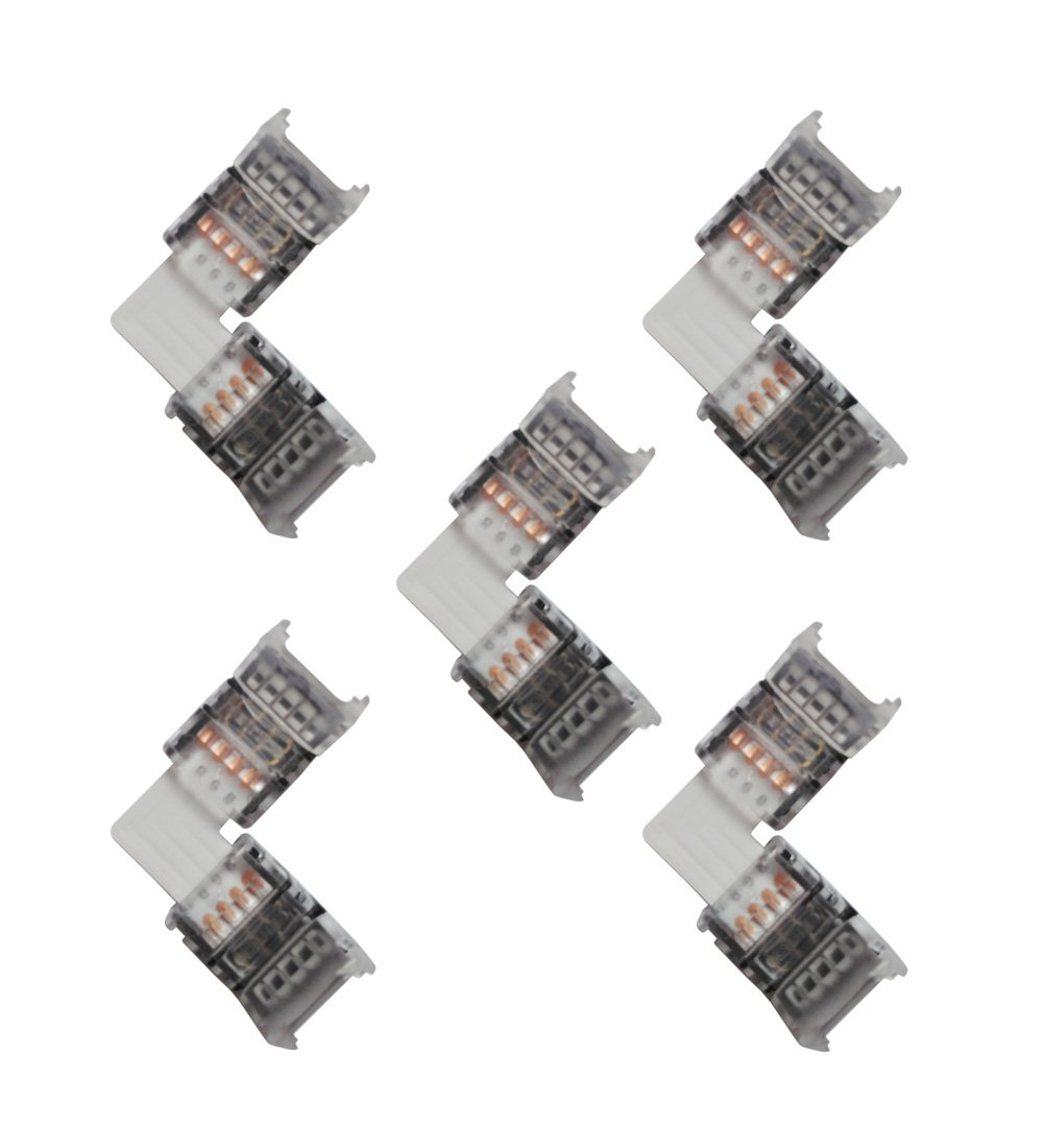 Alightings LED Strip Connector 4 Pin Strip to Strip Jumper L Shape Quick Splitter Right Angle Corner Clips for 10mm Width SMD 5050 LED Strip Lights