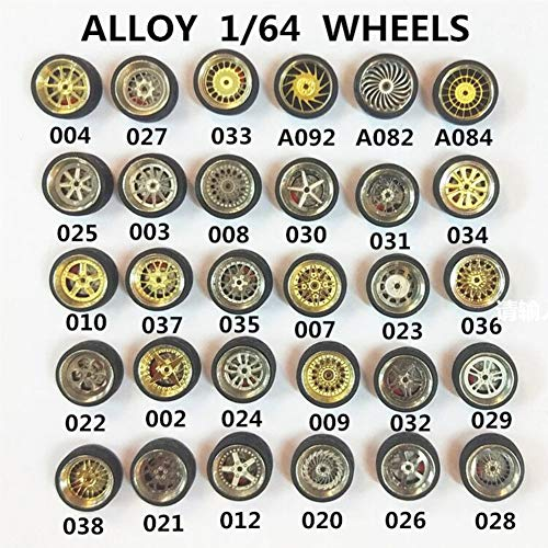 EGFHEAL 1/64 Scale Alloy Wheels Rim and Rubber Tires for Custom Matchbox RC Car Style -
