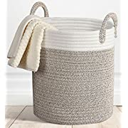 Storage Baskets Large Terracotta Woven Basket, 15 x 15''x 13  Cotton Rope Decorative Baskets for Towel, Laundry, Magzine, Gift Basket
