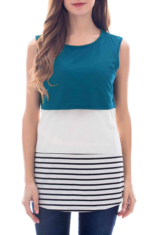 Smallshow Womens Maternity Nursing Tank Tops Back Lace Striped Pull-up Breastfeeding Shirt