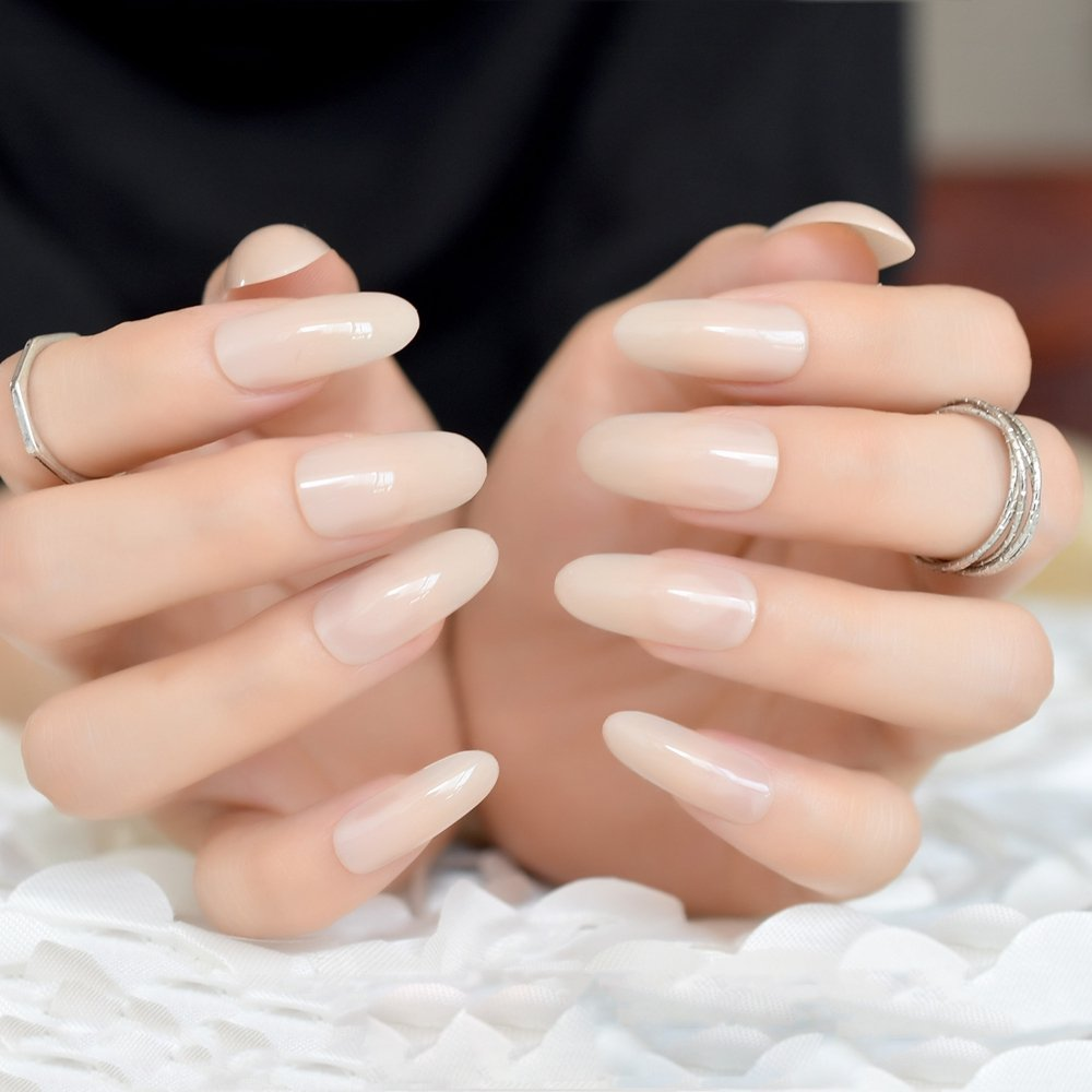 Amazon.com : CoolNail Oval Long Round Top Soft Beige False Nails Tips UV Gel Polish Fake Tips Press On Manicure Artificial Nails Dropshipping : Beauty