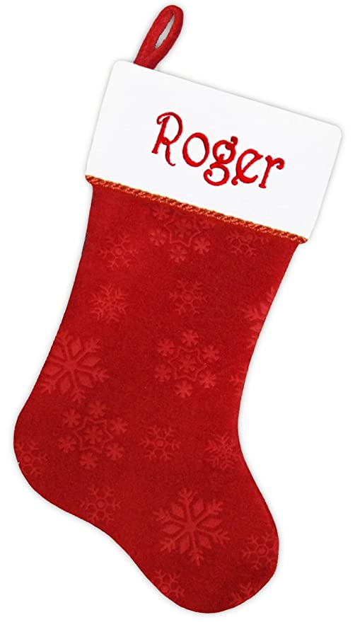 Red Christmas Stocking.Personalized Christmas Stocking Embroidered Free