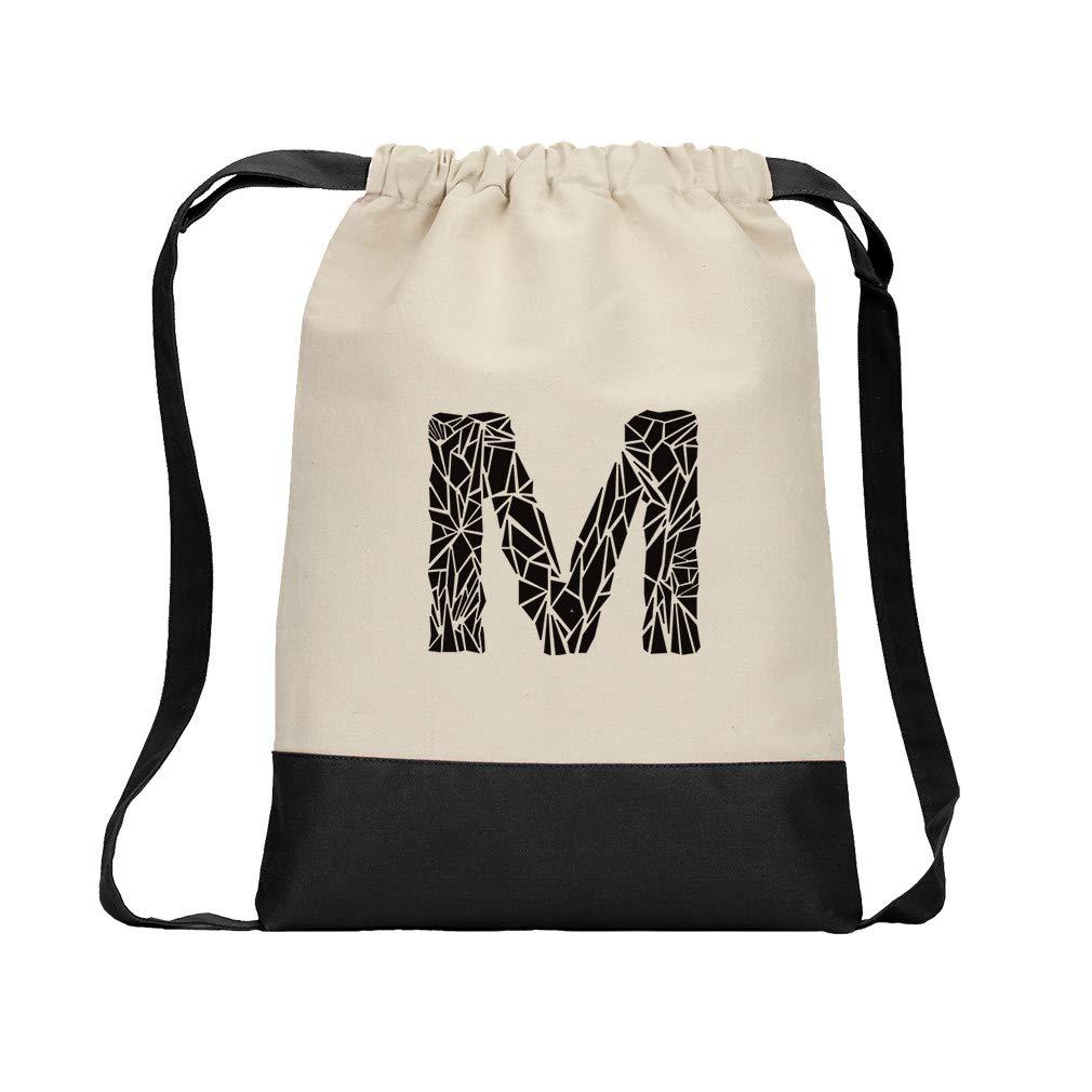 ''M'' Crystal Glass Monogram Letter M Cotton Canvas Color Drawstring Bag Backpack - Black