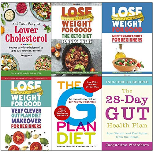 Eat your way to lower cholesterol, keto diet for beginners, mediterranean diet, very clever gut diet, g plan, 28-day gut health plan 6 books collection set