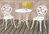 Cheap 1PerfectChoice 3 Pieces Bistro Set Outdoor Patio Garden Round Table Chairs Rose Floral in White