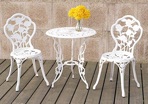1PerfectChoice 3 Pieces Bistro Set Outdoor Patio Garden Round Table Chairs Rose Floral in White For Sale