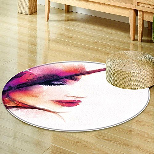 Round Rugs for Bedroom Beautiful Woman Portrait Elegant hat Abstract Fashion Watercolor Illustration  Circle Rugs for Living Room -Round 59