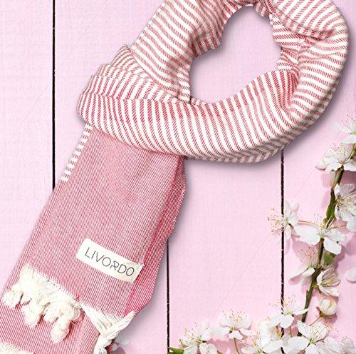 Livordo Turkish Towel Beach Soft Absorbent 100% Cotton Made in Turkey Quick Dry Bath, Sauna, Hamam, Spa, Yoga, Gym, Throw Large Blanket Peshtemal, Pestemal Lightweight Wrap Pareo 70' x39' (Pink)
