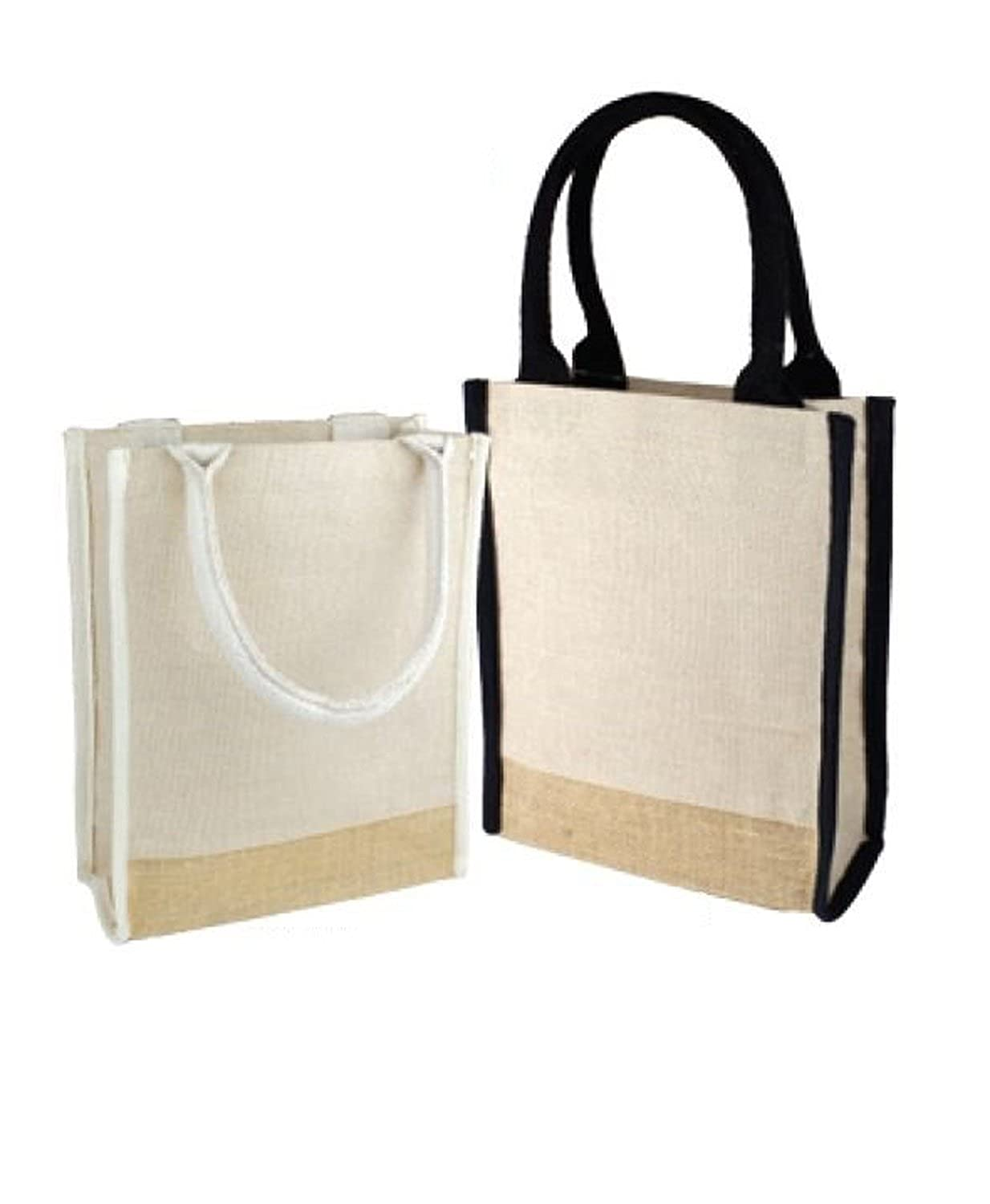 Jute Blend Cute Book Tote Bag with Full Gusset by BagzDepot Fashionable Jute Burlap Tote Bags
