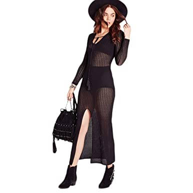 49ba3e763a WeHeart Womens Black Sheer Slit V Neck Long Sleeve Maxi Dress (Black S)