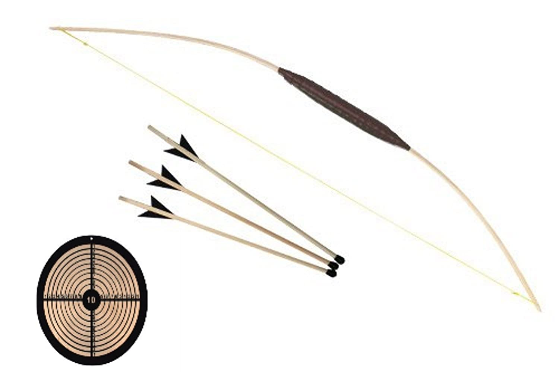 Kinderbogen 80cm Bogen Set + Pfeile Pfropfen +, Zielsche Rund Holzspielerei