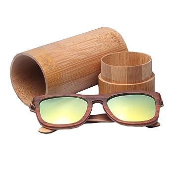 DFB Mode Skateboard Bois Lunettes De Soleil en Bois Polarized Woody Glasses Wood Grain Hommes Et Femmes avec des Verres en Bambou en Forme De Paragraphe,D