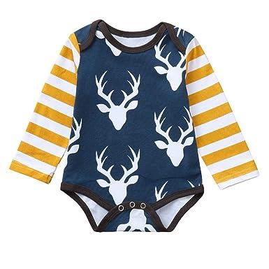f6520a8c7 Amazon.com  Toddler Baby Boy Girls Deer Head Stripe Print Long ...