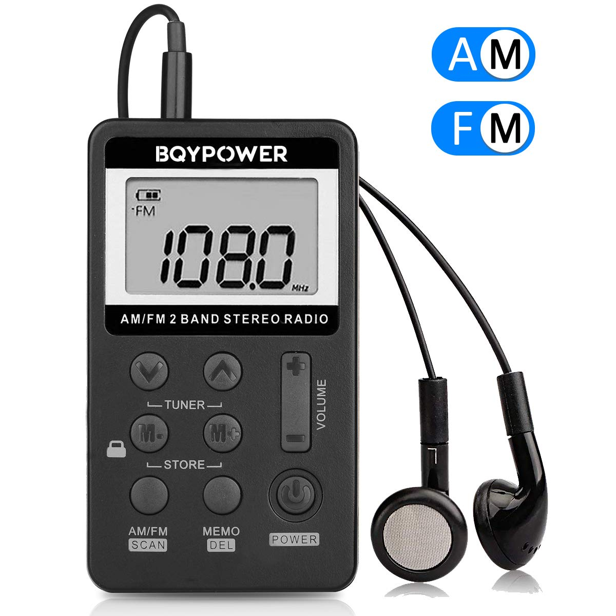 Personal AM FM Pocket Radio, BQYPOWER Portable Mini Digital Tuning Stereo with Rechargeable Battery and Earphone for Walk/Jogging/Gym/Camping