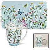 Frühstücksbrettchen & Teebecher Set 2-tlg. Blumen & Schmetterlinge aus Melamin & Porzellan gefertigt