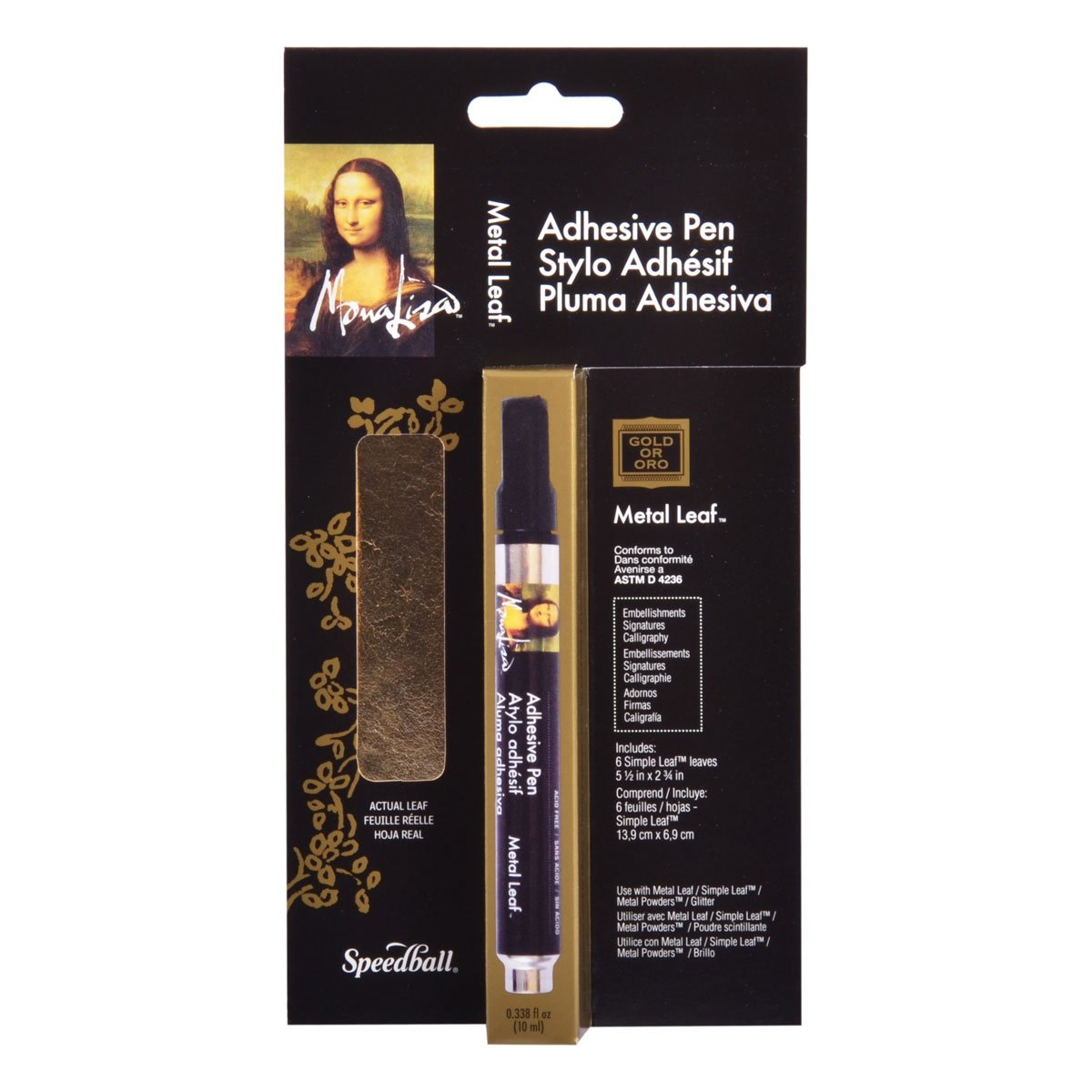 Speedball Mona Lisa Adhesive Pen for Metal Leaf Kit w/Gold Simple Leaf
