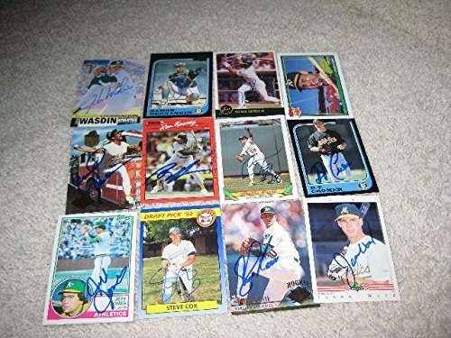 Oakland Athletics A's 12 Signed Baseball Card Lot Dennis Eckersley Ron Hassey - MLB Autographed Baseball Cards