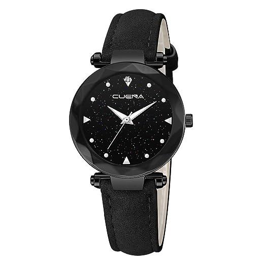 BBestseller Reloj de Pulsera Elegante para Mujer CUENA Relojes de Cuarzo con Correa de Cuero de