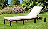 Comfy Living Reclining Rattan Sun Lounger in Brown
