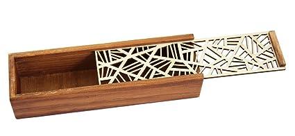aimeio hueca lápiz de madera caso caja de almacenamiento ...