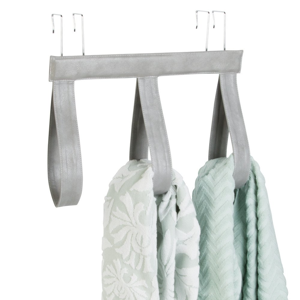 InterDesign Lauren Over-the-Door Towel Holder Rack for Bathroom Gray//Chrome 62750 4 Bars