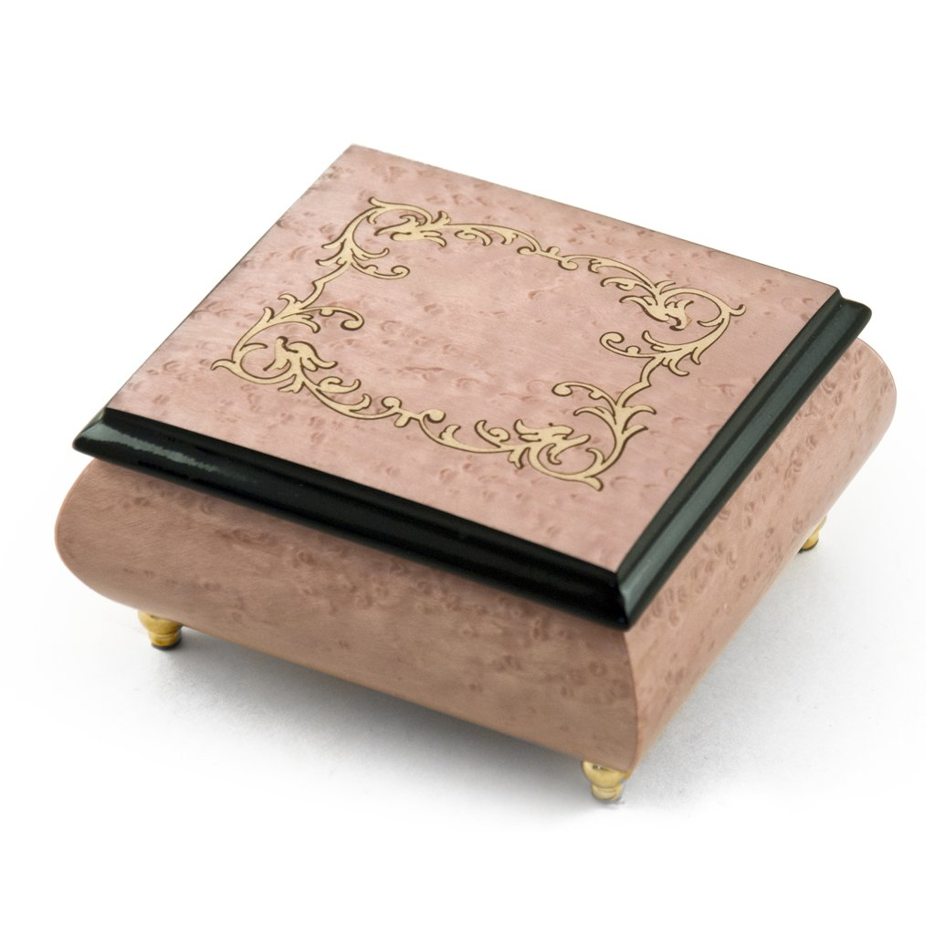 Lovely Light Lavender / Pink Music Box with Arabesque Wood Inlay - Rock of Ages - Christian Version by MusicBoxAttic