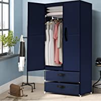Levede Portable Wardrobe Clothes Closet Storage Cloth Organiser Unit Navy Blue Type B in Navy Blue