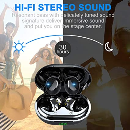 Wireless Headphones, True Wireless Bluetooth Earbuds Headphones, 30H Playtime, 6D Stereo Sound, Deep Bass, Ipx7 Waterproof In Ear Bluetooth Earphones With Mic, Mini Portable Charging Case