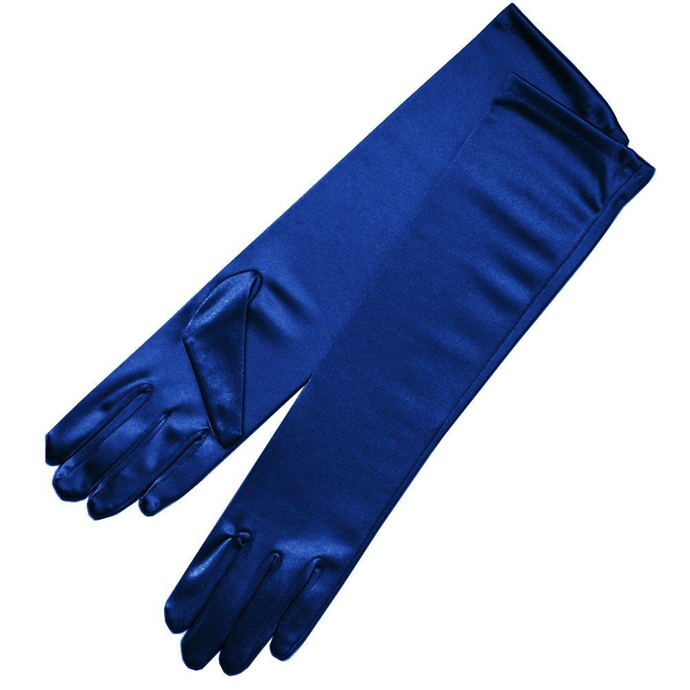 ZaZa Bridal 15.5'' Long Shiny Stretch Satin Dress Gloves Below-The-Elbow Length 8BL-Navy