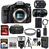 Cheap Sony Alpha A77 II Wi-Fi Digital SLR Camera Body with 18-135mm & 70-300mm Lens + 64GB Card + Battery/Charger + Case + Tripod + Flash + Kit