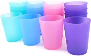 Unbreakable 19-ounce Plastic Tumblers Party Cups Ice Tea Glasses | Set of 16 in Coastal Colors, Dishwasher Safe BPA Free