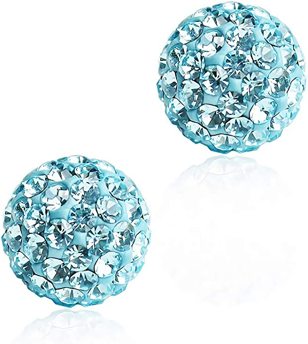 -Peacock blue Pair 8mm 10mm Handmade Crystal Bead Pave Disco Ball Silver Earrings Studs