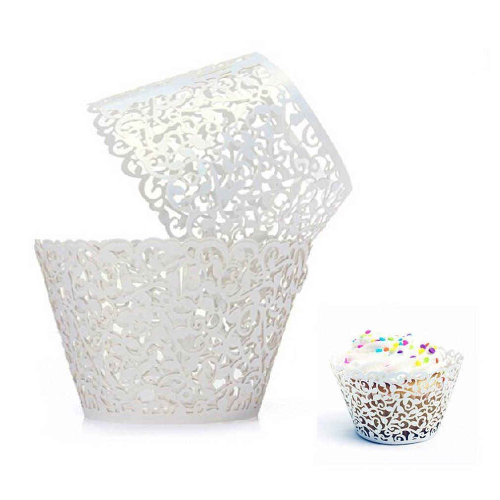 100 Pcs - Vine Cupcake Wrapper Liner Muffin Wrappers Packaging Shimmering Laser Cut for Party,Baby Shower,Birthday (Shimmery White)