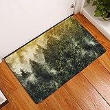 gel kitchen mats uk YJBear Thin Green Misty Forest Print Indoor Rectangle Doormat Entry Mat Floor Mat Home Decor Carpet Kitchen Floor Runner 16