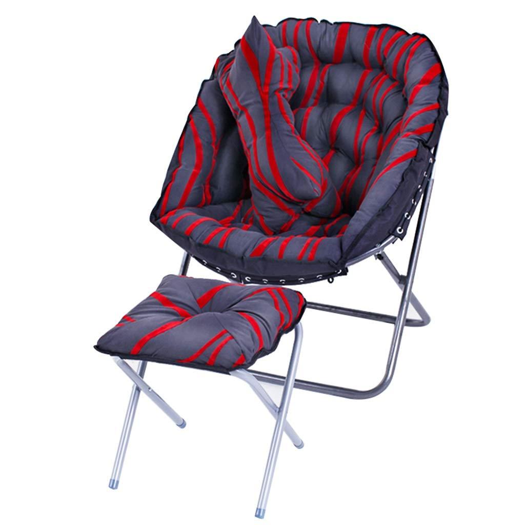 ソファチェア折りたたみゲーミングラウンジチェアレイジーソファシングルリクライニングチェアバルコニーチェアクッションチェアムーンキャンプチェア屋外チェアヘビーデューティデッキチェア枕とフットレスト (色 : A, サイズ さいず : Chair+pillow+Footrest) B07RTBP5T1 A Chair+pillow+Footrest